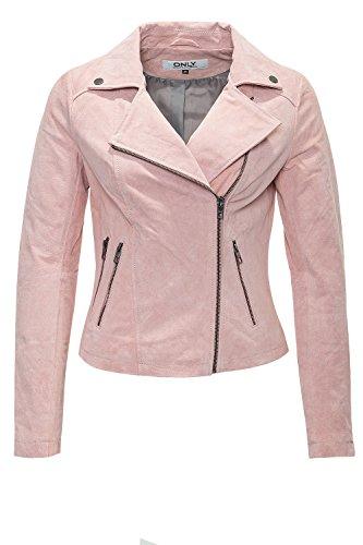 Only Damen Lederjacke onlLENA SHORT SUEDE BIKER OTW, Größe:38;Farbe:cloud pink (15095967)