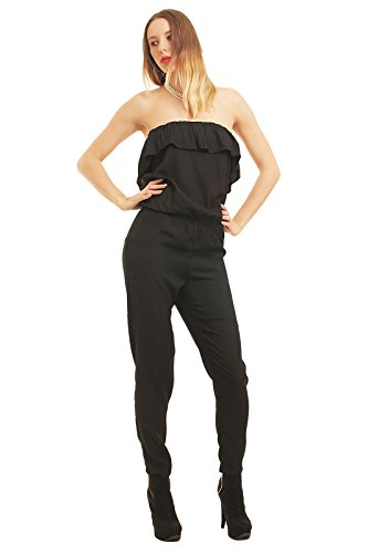 Only Darak Frill Tube Jumpsuit black 15085330, Größe:40