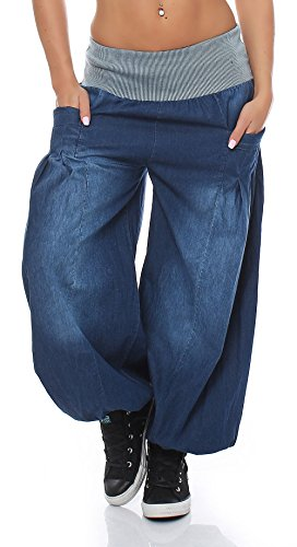malito Pumphose im Denim-Look Aladinhose 6258 Damen One Size (blau)