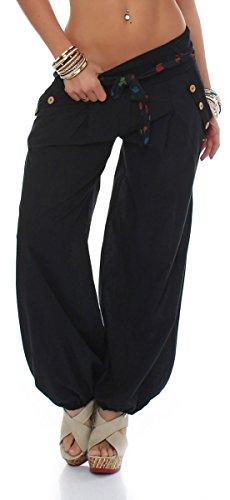 malito Pumphose mit Gürtel Haremshose Uni-Farben 3417 Damen One Size (schwarz)