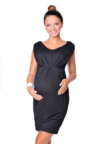 Purpless Maternity Atemberaubende Umstands Armellos V-Ausschnitt Kleid 8437 (42 (UK 14), Black)