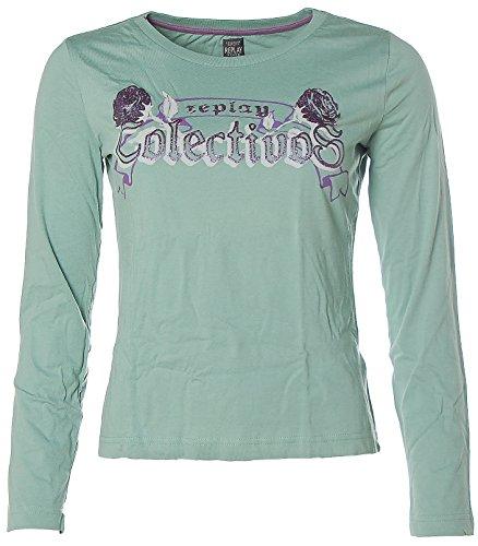 Replay Damen Langarm Shirt Rundhals Streetwear Glitzer Mint Grün M