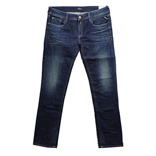 REPLAY Jeanshose blau indigo WX648 VICKY Jeans Hose gerades Bein Stretch VICKI, Hosengröße:W32/L30