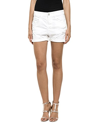 Replay Damen Short WA611 .000.8055197, Gr. W30, Weiß (WHITE 1)