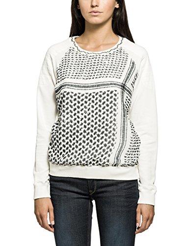 Replay Damen Sweatshirt Sweater, Gr. 38 (Herstellergröße: M), Weiß (OFF WHITE 11)