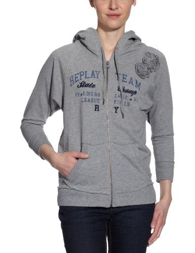 Replay Damen Sweatshirt, W3008C.000.20330A, Gr. 40 (L), Grau (M02 melange grey)