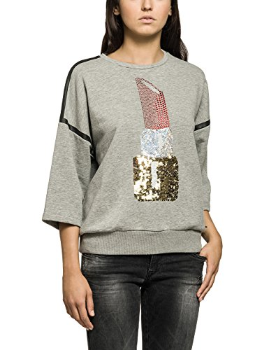 Replay, Damen Sweatshirt W3101A.000.21648, Gr. 40 (Herstellergröße: L), Grau (GREY MELANGE M02)