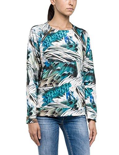 Replay Damen Sweatshirt W3545 .000.71004, Gr. Small, Grün (GREY/GREEN 10)