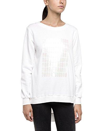 Replay Damen Sweatshirt W3606 .000.21020, Gr. 34 (Herstellergröße: XS), Weiß (OFF WHITE 11)
