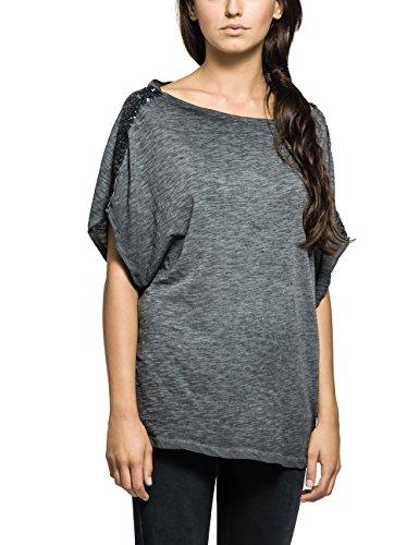 Replay Damen T-Shirt Shirt, Einfarbig, Gr. 36 (Herstellergröße: S), Blau (DEEP BLUE 890)