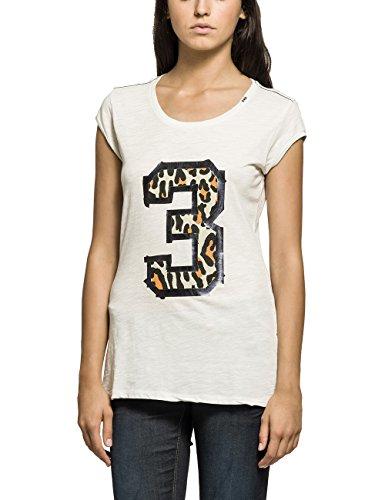 Replay Damen T-Shirt Shirt, Gr. 40 (Herstellergröße: L), Weiß (OFF WHITE 11)