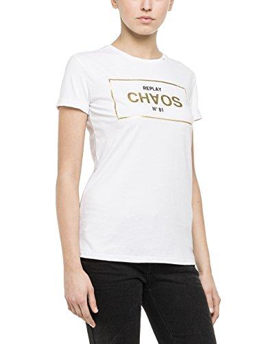Replay Damen T-Shirt W3672 .000.20994, Gr. 38 (Herstellergröße: M), Weiß (OPTICAL WHITE 1)