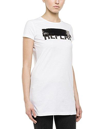 Replay Damen T-Shirt W3695A.000.20994, Gr. 36 (Herstellergröße: S), Weiß (OPTICAL WHITE 1)