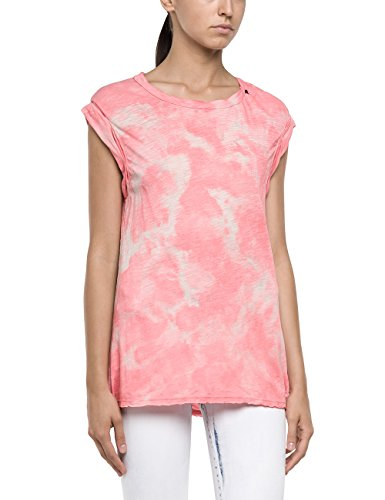 Replay Damen T-Shirt W3727 .000.20760R, Gr. Large, Rosa (PINK/LIGHT BEIGE 10)