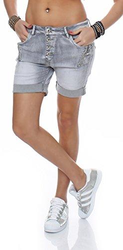 SKUTARI Kurze Damen Hosen Jeans Shorts Baggy Boyfriend ((L/D40), Grau 1)