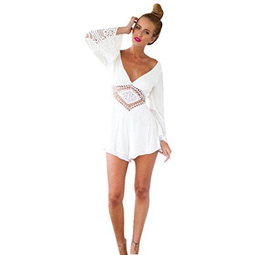 Sannysis Damen White Lace V-Ausschnitt Jumpsuit Kurze Hose (S)