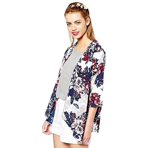 Sannysis Mode Damen Gedruckt Chiffon Jacke Kimono Cardigan (S)