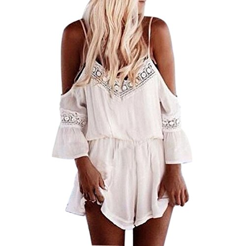 Sannysis Women Straps Halter Crochet Playsuits Summer Beach Jumpsuits Romper (S)