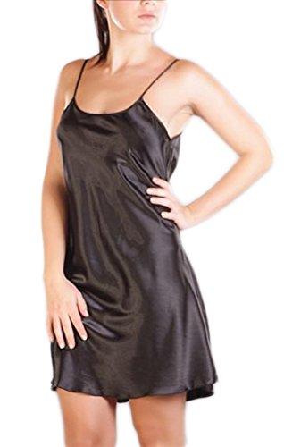 Satin Nachtkleid Nachthemd Damen Negligee Babydoll Desouss Nachtwäsche glänzend, Grösse Accessoire:S;Farbe:Schwarz