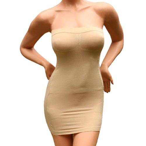 Sexy Damen Figurformende miederkleid trägerlos ausdehnungs minikleid schlankheits SS-W03 Beige (XXL)
