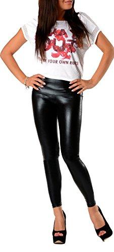 Sexy Glanz Faux PU Leder Look Optik Leggings Hohe Taille Hüfthoch Strumpfhose Damen Leggins Hose S M L XL XXL 3XL 36 38 40 42 44 46 LGLXP
