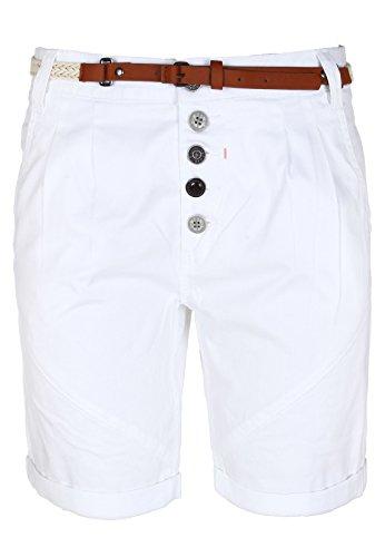 SUBLEVEL Damen Chino-Shorts mit Gürtel | Bermuda Hose kurz | Kurze Hose für Frauen in angesagten Farben white M