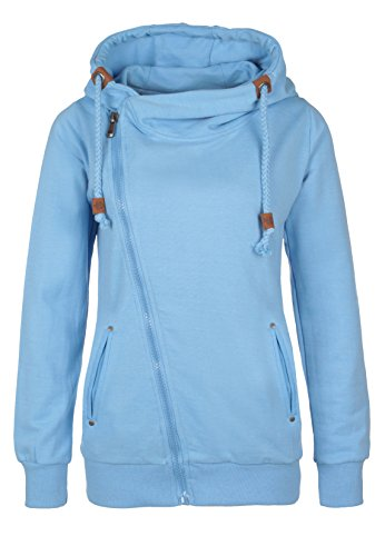 Sublevel Sweatjacke sportlich-elegant für Damen mit Zipper | Kapuzenpullover | Hoodie | Sweater light-blue M