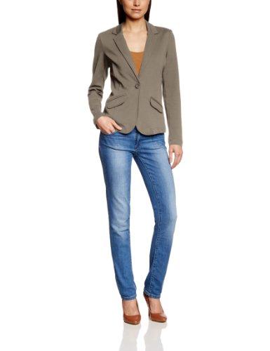TOM TAILOR Damen Sweatshirt svea sweat blazer/401, Einfarbig, Gr. 44 (Herstellergröße: XXL), Grau (warm grey)