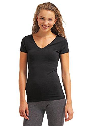 Tshirt Damen Kurzarm - Schwarz - V-Ausschnitt T-Shirt Top ★ Style Room ★ Frauen-Top für Freizeit Fitness Sport, Größe S