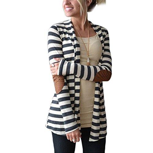 Tonsee Damen Cardigan Marke gestreift Langarm Ellenbogen Flickwerk gestrickte Strickjacke Baumwolle dünn öffnen Stitch Frauen Tops (Asian L)