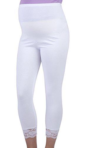 Mija - UmstandsLeggings für Schwangere Capri 3/4 Hose Leggings 3005 (L, Weiß)