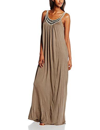 VERO MODA Damen Kleid Vmjannet Singlet Maxi Dress, Braun (Falcon Detail:Snow White Straps), 40 (Herstellergröße: L)