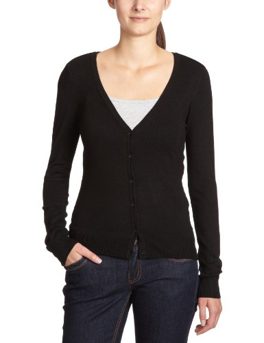 VERO MODA Damen Top GLORY NEW LS V-NECK Cardigan, Einfarbig, Gr. 40(L), Schwarz