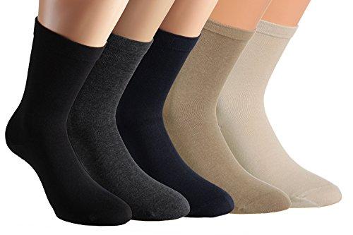 Vitasox 11124 Damen Socken Extra weit Baumwolle Gesundheitssocken Sensibel Ganz ohne Gummi ohne Naht 6er Pack Schwarz 39/42