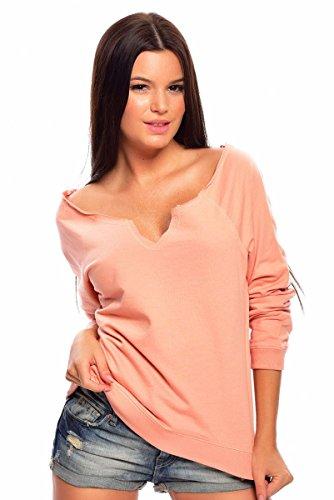 SALE! Damen Venice Beach Sweat-Shirt / Octopus Shirt / Badeshirt / Weich / Bequem / Lässig / Apricot / Schwarz f4332 Farbe: Apricot, Gr. 44/46