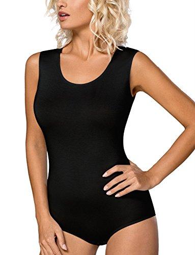 Vestiva Damen Body Ärmellos Trägerbody Bodysuit Baumwolle Tanz Body Schwarz Weiß BD01 (XL - 42, Schwarz)