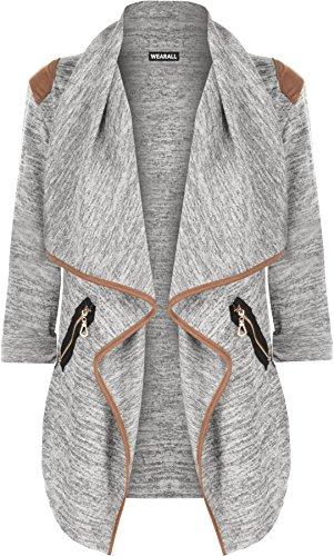 WearAll - Damen Gestrickt Geöffnet Reißverschluss Tasche Lang Hülle Schulter Top Strickjacke - Grau - 36-38