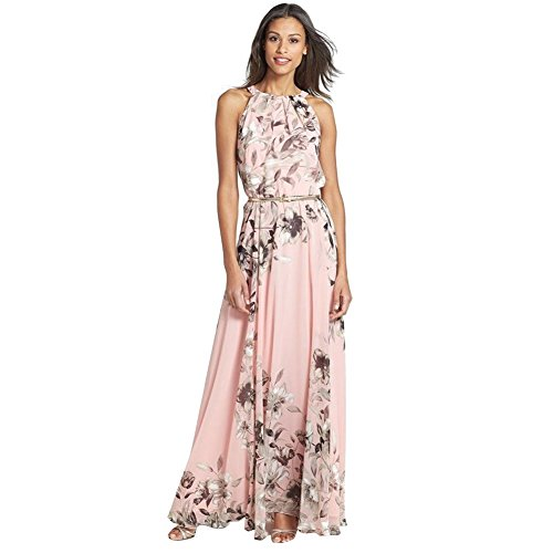 West See, 1pc Maxikleid Damen Ärmellos mit Metallgürtel Sommer Party Strand Chiffon (m)