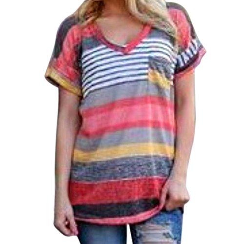 West See Damen Frauen Tops Loose Kurzarm Shirt Hemd Bluse T-Shirt (XL, Mehrfarbig)