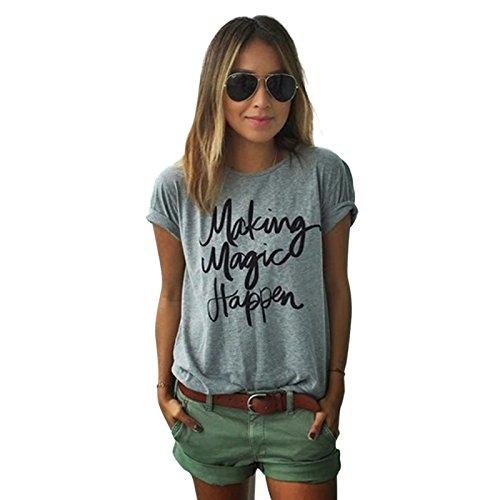 Yantu Damen girl Sunmmer Rundhals Top Weich Baumwolle Oversize Funny Schöne Print T-Shirt (M)
