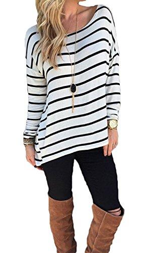 Yidarton Damen Rundhals Gestreift Stretch Basic T-Shirt Oberteile Langarmshirt Loose Bluse Tops (S / EU 36-38)