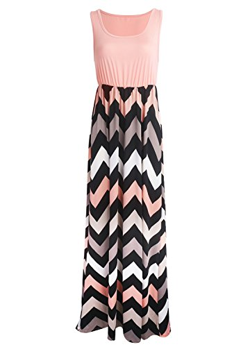 Yidarton Sommerkleid Damen Lang Chiffon High Waist Striped Sleeveless Beach Kleid Partykleid Elegant (Large, Rosa)