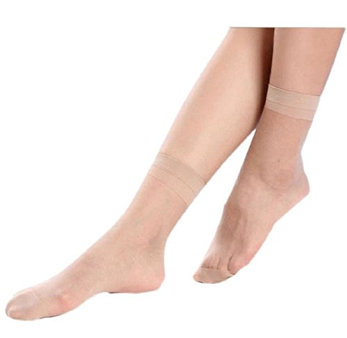 Yistu 10 Paar DAMENSOCKEN Crystal dünne transparente dünne Seide Socken Sommer (klar)