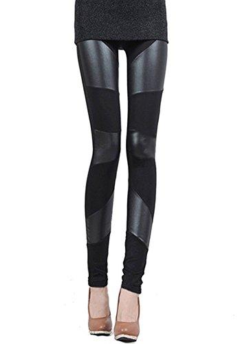 ZANZEA S-XXL Damen dehnbar Leggings Skinny Leggins PU Leder Baumwolle Legging 3 Streifen M