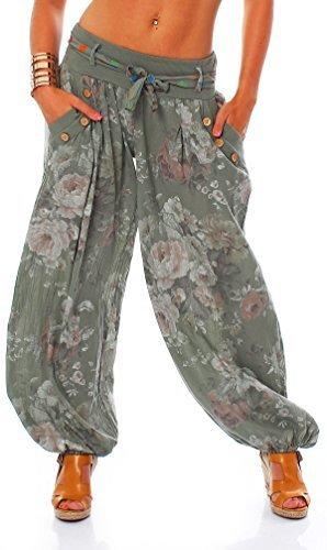 Moda Italy Damen Haremshose Pumphose Ballonhose Pluderhose Yogahose Aladinhose Harem Sommerhose mit Stoffgürtel Flower-Print, One Size Gr.36-42, Armee