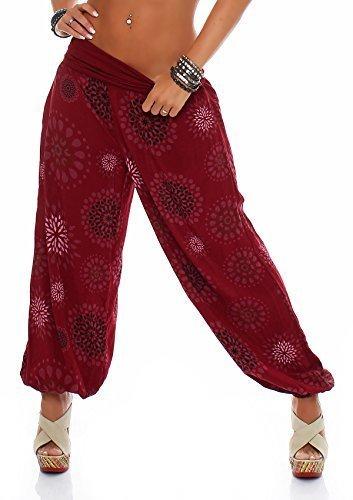 ZARMEXX Damen Pumphose Pluderhose Harem-Stil Sommerhose all over Print Freizeithose Aladinhose Hose One Size (Einheitsgröße: Gr. 36-42, bordeaux)