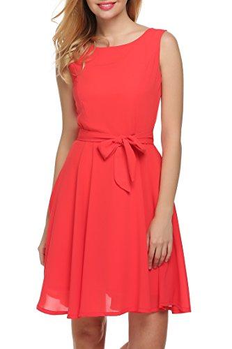Zeagoo Damen Chiffon Kleid Partykleid Cocktailkleid Rot S