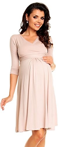 Zeta Ville Damen Umstandsmoden-Shirtkleid Umstandskleid Sommerkleid 282c (Ekrü, 44)