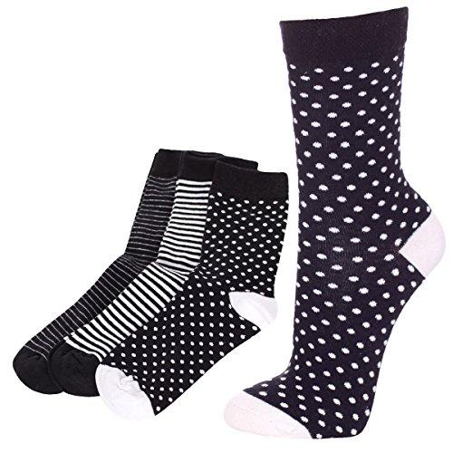 dam sock,6p,35/38,Schwarz/Weiss