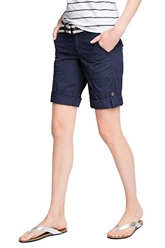 edc by ESPRIT Damen Bermuda 066CC1C008 Play Turn-Up mit Gürtel, Blau (Grey Blue 420), 44